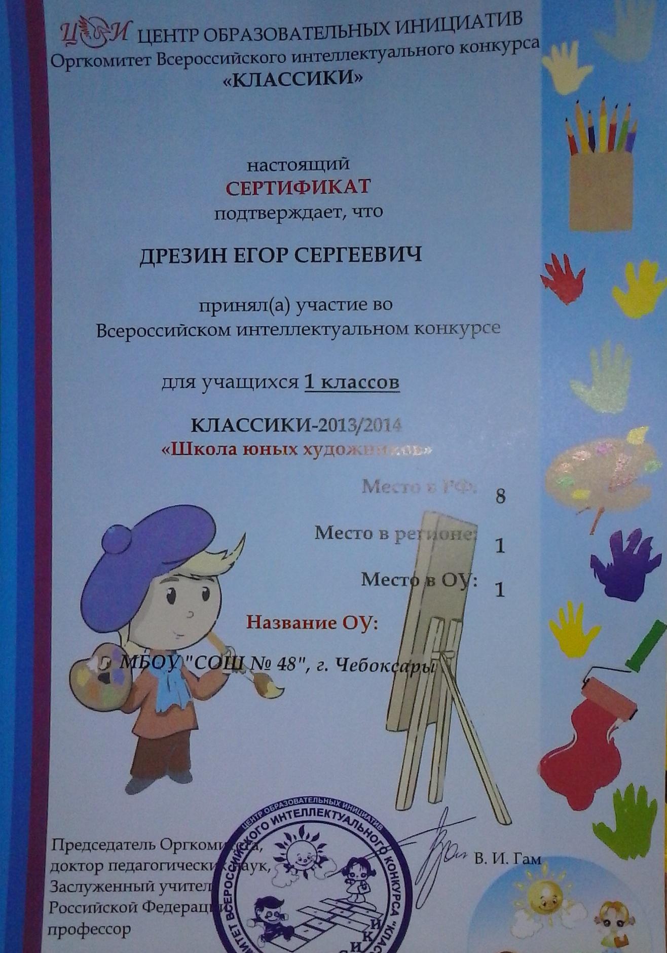 Сценарий конкурса для начальных классов